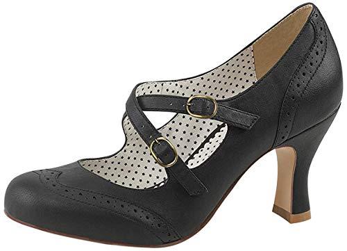 Pinup Couture Damen FLAPPER-35 Pumps, Schwarz (Blk Faux Leather), 39 EU
