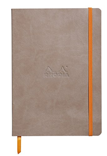 Rhodia 117454C Notizheft Rhodiarama mit weichem Umschlag, dot grid, 80 Blatt, 90 g elfenbeinfarbenes Papier, A5 148 x 210 mm, Lesezeichen, Innentasche,1 Stück,maulwurfsgrau