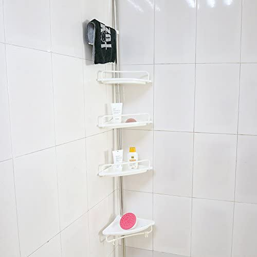 4 Tier Plastic Shower Shelf Bathroom Telescopic Corner Shower Shelf Caddy Pole Wall Rack Storage product image