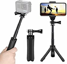 Mini Selfie Stick Tripod Kit 2-in-1, Compatible with Hero 9/8/ 7/6/MAX/OSMO/ACTION Action Cameras and Smartphones, 1/4 inch Screw Fixed, with 3-Level Telescopic Function Tripod(Black)