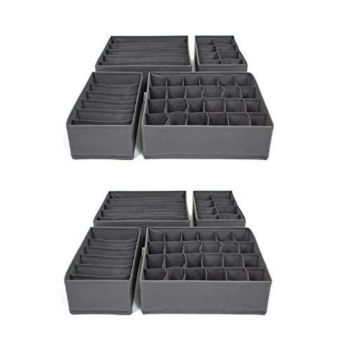 SB Trading - 8 x Schubladen Ordnungssystem Stoff Grau - Aufbewahrungsbox Set für Socken, Unterwäsche & BH - Schubladeneinsatz Ordnungsboxen mit 86 Fächern - Schublade & Schrank Organizer Trennsystem