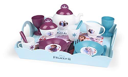 Smoby - Die Eiskönigin Serviertablett - 10-tlg Spielzeuggeschirr-Set mit Tasse, Teller, Zuckerdose, Teekanne, mit Aufdruck, für Kinder ab 3 Jahren