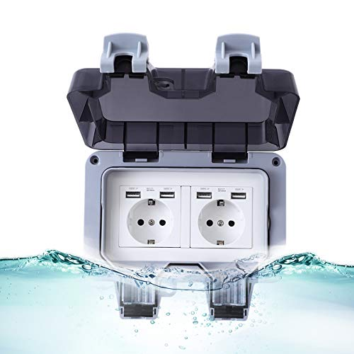 FORMIZON IP66 Presa a Muro Impermeabile, Presa Elettrica Esterno, Resistente Alle Intemperie Antipolvere Presa Commutata per Giardino Esterno, Applicazioni Commerciali e Garage