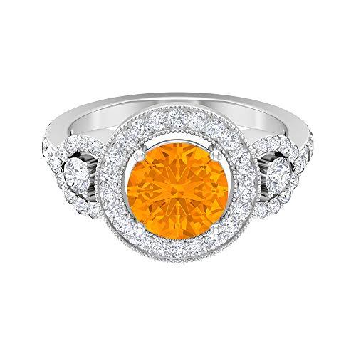 Anillo solitario vintage, piedras preciosas redondas de 3,41 quilates, anillo de moissanita D-VSSI, 14K Oro blanco, aguamarina creada por laboratorio, Size:US 70