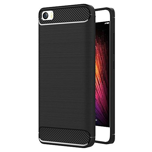 Funda para Xiaomi Mi 5 (5,15 Pulgadas) TPU Silicona Carcasa Fundas Protectora con Shock Absorción y Diseño de Fibra de Carbon (Negro)