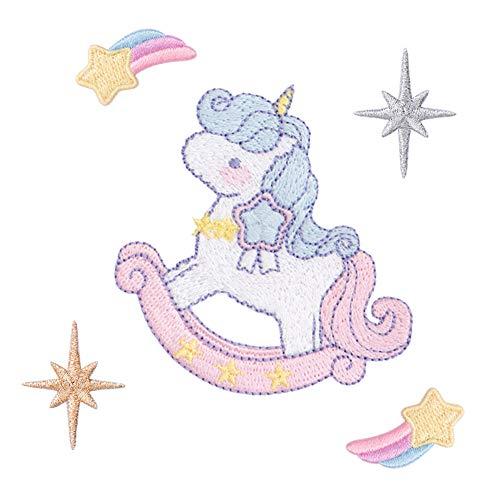 Xunhui Toppa a forma di unicorno arcobaleno, con stelle oro e argento, nuvole, da applicare con ferro da stiro sui vestiti, fai da te 3
