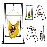 KT Indoor Outdoor Versatile Hammock Chair Stand. Foldable, Portable, Height Adjustable, Stable and Durable Heavy Duty Solid Steel Stand Frame Only for Hanging Porch Pod Egg Nook Swing Seat Chair