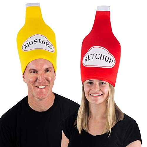 Tigerdoe Couples Costumes - Ketchup & Mustard Hats - Funny Food Hats - 2 Pack Food Costumes