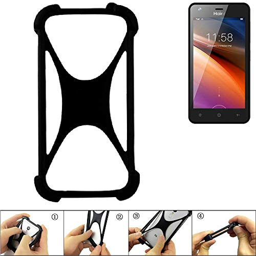 K-S-Trade Handyhülle für Haier G21 Schutz Hülle Silikon Bumper Cover Case Silikoncase TPU Softcase Schutzhülle Smartphone Stoßschutz, schwarz (1x)