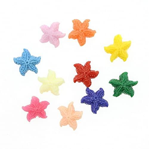 QFDM Estrellas de mar 40 Piezas de Piedra Natural Coral 11~15 mm Estrellas de mar Brujo Pulsera Collar Accesorios Conchas y Estrellas de mar (Color : Mix Color, Item Diameter : 15mm)