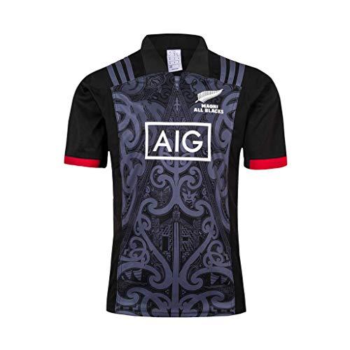Team New Zealand, Trikots für Herren Maori All Blacks, 2019, Weltcup der Männer Rugby Jersey Adult Fan-Hemden T-Shirt Fans