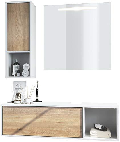 Conjunto de Muebles para baño La Costa, ROCA Cuerpo en Blanco Mate/Frentes en Roble nórdico, con Espejo LED