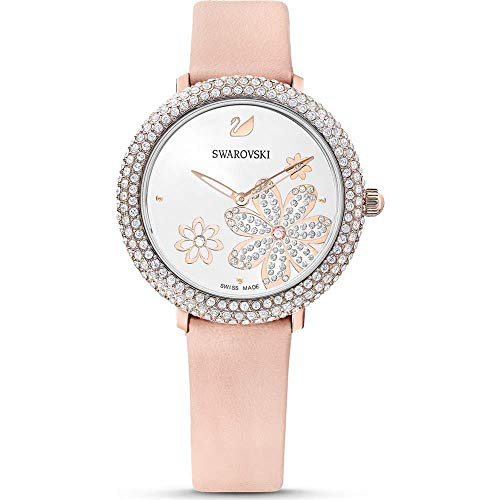 Swarovski Damen Uhr 5519223 Crystal Frost, Lederarmband, rosa, rosé vergoldetes PVD-Finish