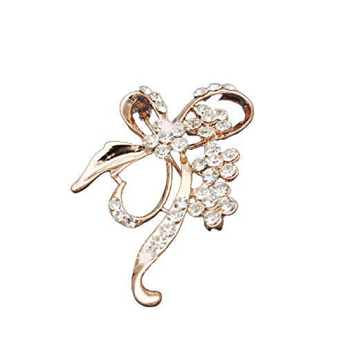 Crystal Flower Brooches Large Bow Brooch Pin for Women Fashion Jewelry Wedding Pin Corsage Accessories