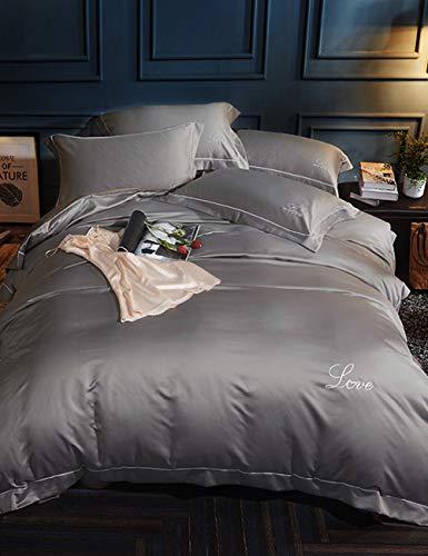 TUTOU Schlichte, einfarbig Gewaschene, vierteilige Seidenbettwäsche. Eng anliegender Luxusanzug aus Baumwolle, Königinweiß,Impression,78.7 * 90.5