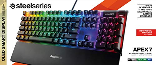 SteelSeries Apex 7 Mechanical Gaming Keyboard – OLED Smart Display – USB Passthrough and Media Controls – Linear and Quiet – RGB Backlit (Red Switch)