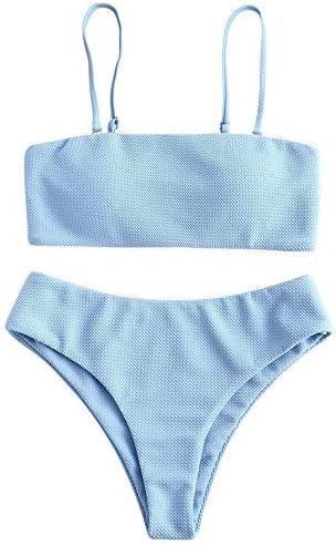 ZAFUL Women s Textured Bandeau Bikini Set Removable Spaghetti Straps Two Piece Swimwear product image