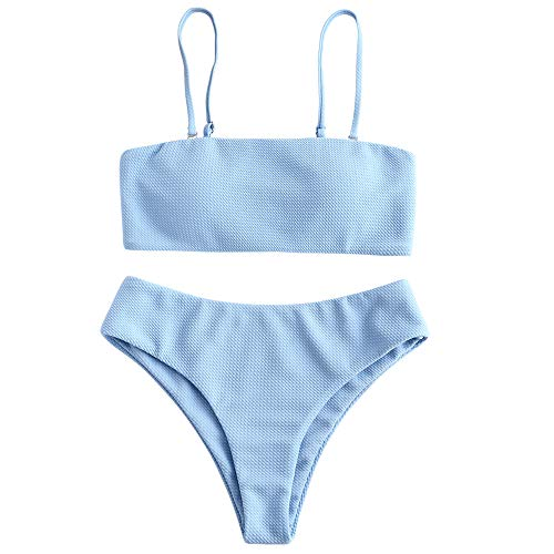ZAFUL Bikini Textured Removable Straps Padded Bandeau Two Piece Bathing Suits for Women Light Blue L