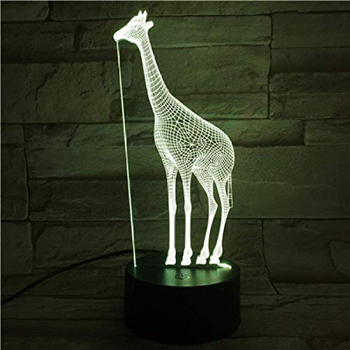 Lámpara de ilusión 3D, luz de noche Led, jirafa, 7 colores que cambian, decorativo, niño, niña, regalo, Animal, jirafa, lámpara de escritorio, cabecera