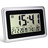 Digital Alarm Clocks for Bedroom, Large LCD Electronic Silent Wall Clock, Battery Operated Modern Desk Day Clock with Temperature and Date for Office, Kitchen, Living Room Decor for Heavy Sleepers