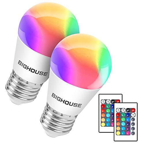 E27 Dimmbar LED Lampe ersetzt 35W, 380 Lumen, 4W E27 G45 RGB Glühbirne mit Fernbedienung, Farbwechsel Farbige Birne Warmweiß (3000 Kelvin), 2 Stück