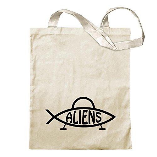 Kiwistar Aliens Fisch Tragetasche Baumwolltasche Stoffbeutel Umhängetasche Langer Henkel