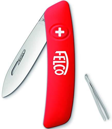 """Felco Schweizer Taschenmesser, Klappmesser, Schnappmesser (3 Funktionen Robuste Klinge aus Edelstahl Kratzfester """"Soft Touch"""" Griff Spülmaschinengeeignet 80°C) 500, Rot"""