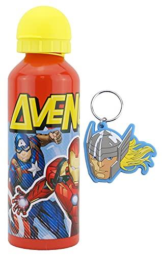 HOVUK - Confezione di biberon per bambini, in alluminio, 450 ml o 425 ml, 3+anno e 2D in gomma Thor Face Action Figures portachiavi, portachiavi con personaggi Disney stampati per ragazzi e ragazze