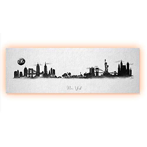ArcoIris Home Cuadro Decorativo Skyline New York 90x30cm CON LED
