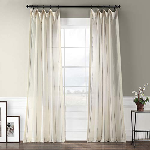 HPD Half Price Drapes SHCH-HC66085-108 Striped Linen Sheer Curtain (1 Panel), 50 X 108, Aruba Gold