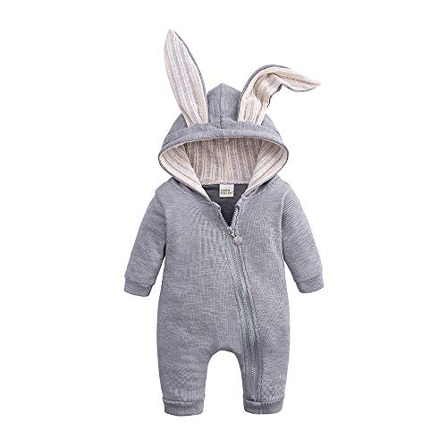 Kids Tales Newborn Baby Winter Warm Outfits Cute Rabbit Ear Hooded Zipper Romper , 59(0-3M), Grey