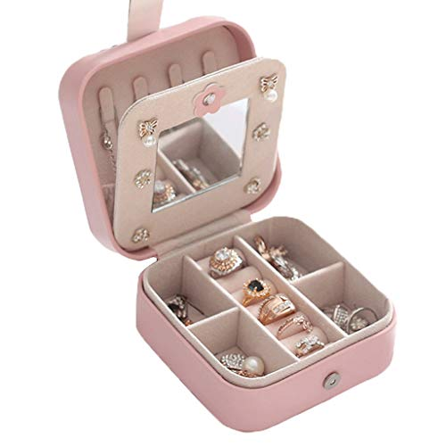 ZSP Estante de la joyería Mini joyería Caja de almacenaje del Organizador exhibición de la joyería Caja de joyería del sostenedor de la PU Cuero, 4.3'X4.3' X2.2', Rosa Soporte de joyería