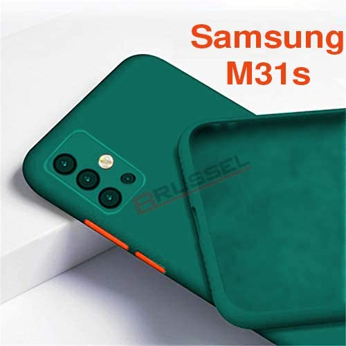BRUSSEL Samsung Galaxy M31s Back Case Cover Soft Matt Finish Silicon Shockproof Back Case Cover Camera And Screen Protection Green
