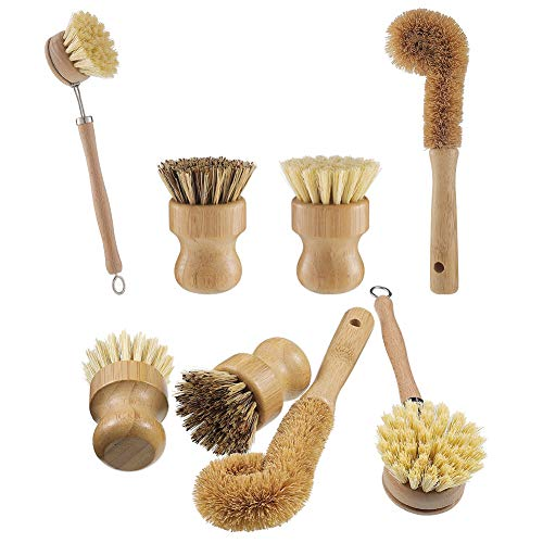 Opopark 4 PCS Cepillo para fregar platos de bambú natural -