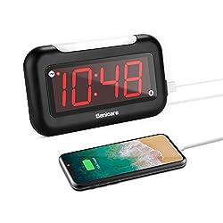 Senicare Home LED Digital Alarm Clock with Nightlight, Easy to Set, Full Range Brightness Dimmer, USB Charging Port, Snooze, Outlet Powered Compact Clock for Bedrooms, Bedside, Desk - Battery Backup