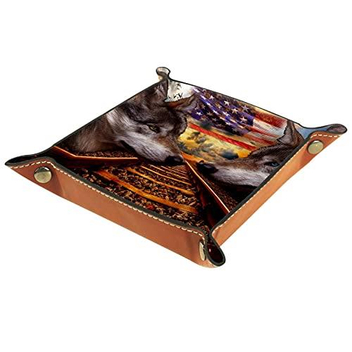 Leder Valet Tray, Würfel Tray Folding Square Holder, Kommode Organizer Platte für Change Coin Key Coole Wolf Eisenbahn USA Flagge