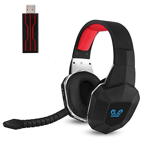 2.4GHzワイヤレスゲーミングヘッドセットPS4 ヘッドホン ヘッドフォン無線 ゲームヘッドセット ゲーム用 PC パソコン 重低音 usb 軽量 臨場感溢れるノイズキャンセリング 着脱式マイク付き PC/PS4/PS4 Slim Nintendo Switch対応 (赤い)