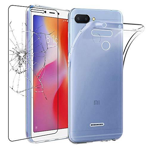 ebestStar - Cover Compatibile con Xiaomi Redmi 6 6A Custodia Trasparente Silicone Gel TPU Protezione Morbida, Trasparente +Pellicola Vetro Temperato [Apparecchio: 147.5 x 71.5 x 8.3mm, 5.45'']