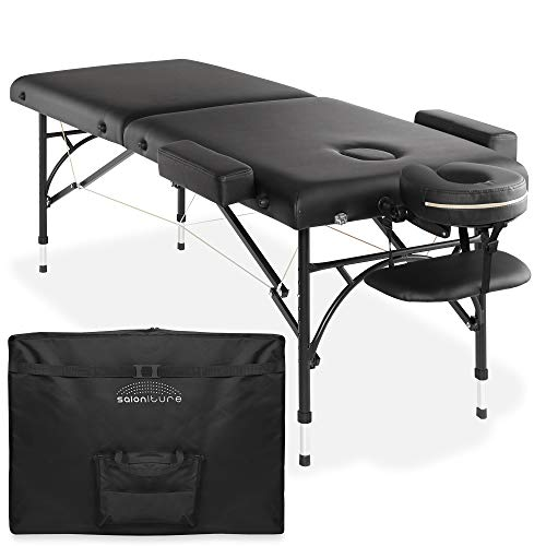 Saloniture Professional Portable Lightweight Bi-Fold Massage Table with Aluminum Legs - Includes Headrest, Face Cradle, Armrests and Carrying Case - Black