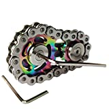 Sprocket Fidgets Chain Stainless Steel Fidget Cube Gears Linkage Bike Chain Novelty Fidget Block Kinetic Desk Toy Metal EDC Focus Meditation Break Bad Habits ADHD (Colorful)