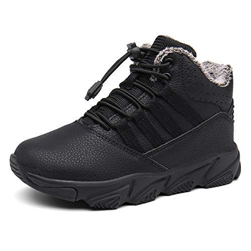 Kinderstiefel Jungen Mädchen Winterschuhe Warm Gefüttert Sneaker rutschfeste Stiefel Leichte Wanderstiefel Schwarz EU31.5=CN32