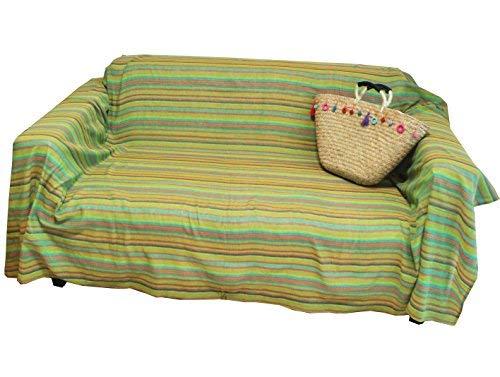 マルチカバー 長方形 ソファー ベッド テーブルクロス 間仕切り 目隠し インド綿 マルチボーダー (ポップグリーン, 180×270cm)