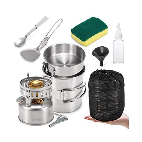 ZLDGYG JJCDY Camping COCKETWARE MEAR Kit con Cocina DE Gasolina Cocina Pot Pot Pan Spork Scoop Scoop Limpieza Limpieza DE LA BOTEL DE LA Bode