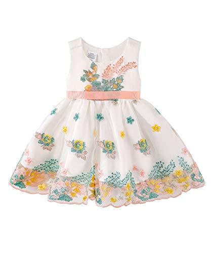 KGYA Baby Girls Dresses Toddler Christening Flower Sleeveless Bowknot Waistband Tutu Dress White