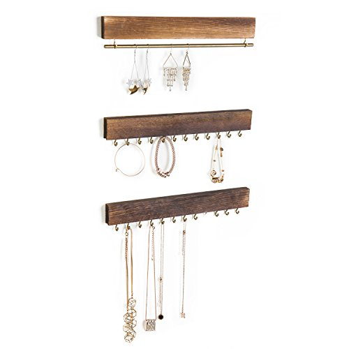MyGift 3-Piece Wall-Mounted Rustic Wood & Gold Tone Metal Jewelry Organizers / 24 Hook Necklace & Bracelet Racks/Hanging Earring Bar