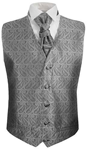 Festliche Jungen Anzug Weste mit Plastron 2tlg Silber grau Paisley für Kinderanzug 170-176 (16 Jahre)