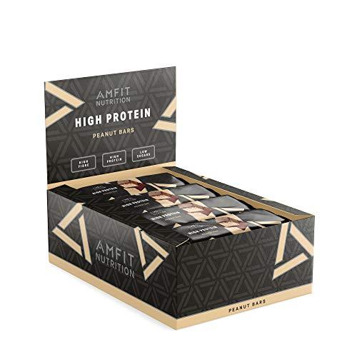 Marca Amazon- Amfit Nutrition Barra de proteína baja en azúcar (19,5gr proteina - 1,7gr azúcar) - cacahuete - Pack de 12 (12x60g)