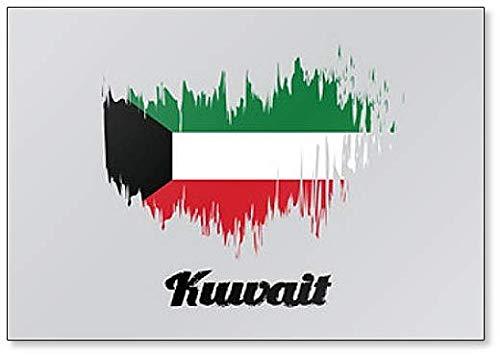 Kühlschrankmagnet Kuwait Flagge, Pinsel-Stil Illustration