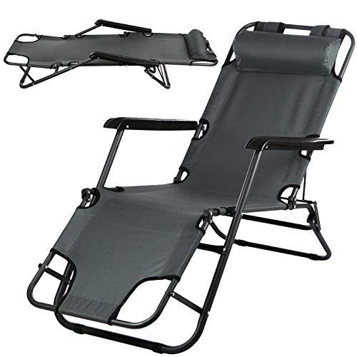 Campela Gartenliege Sonnenliege Strandliege Liegestuhl CA0008GRY Stuhl klappbar Zusammenklappbares Camping Stuhl