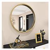 AUFHELLEN Rund Spiegel mit Rahmen aus Holz Groß Wandspiegel aus Glas in Oak 61cm Schminkspiegel für Bad-, Schlaf-, Ankleide- oder Wohnzimmer